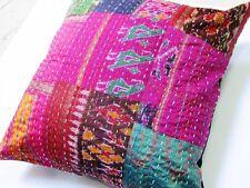 """16""""Old Vintage Indian Antique Ikat Silk Handmade Patchwork Kantha Cushion COVR ."""