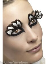Long Feather Lashes Black Brown & White Eyelashes Leopard Animal Fancy Dress