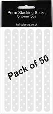 PERM PLASTICA impilamento BASTONCINI STICK PER CAPELLI PERMING RODS RULLI BIGODINI CONFEZIONE DA 50
