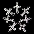 7Pcs+26x18x2mm+Carved+Tibetan+Sliver+Cross+Pendant+Bead+H81347