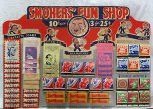 "ANTIQUE ""SMOKERS' FUN SHOP"" DISPLAY BOARD -- FIREWORKS / TRICKS / MAGIC"
