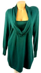 Marissa Christina green cowl neck layer look wool blend pullover sweater 1X