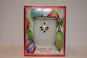 Bath & Body Works White Barn WHITE ART DECO Fragrance Melt Warmer NEW