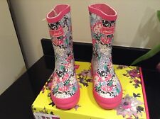 JOULES PINK DITSY FLORAL WELLIES. BOOTS. SIZE 2. NEW IN OWN BOX