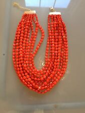 NWOT Multi Strand Orange Faceted Bead Statement Necklace