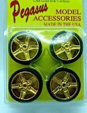 Pegasus #1268 Gold Irok's Chrome  Rims  (4)-With Tires-1/24 Scale