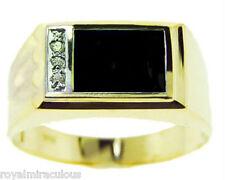 Mens Diamond Ring Onyx 14K Yellow or White Gold Ring