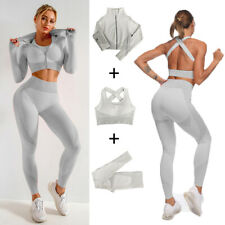 Women Long Sleeve Yoga Set Zipper Crop Top Sport Bra Gym Fitness Suit Gray 3 Pcs