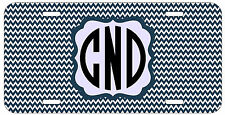 Personalized Monogrammed Chevron Dark Blue License Plate Custom Car Tag L373