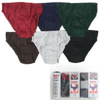 6 Pack Mens Bikinis Briefs Underwear 100% Cotton Solid Knocker Size Medium 32-34