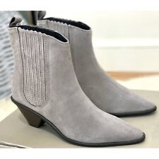 Jigsaw Camila Western Suede Pointed Ankle Boots, Grey Size 5 (Eur 38) RRP £150