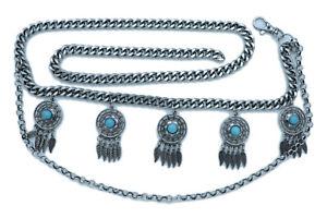 Women Belt Silver Metal Chain Links Feather Dream Catcher Turquoise Charm M L XL