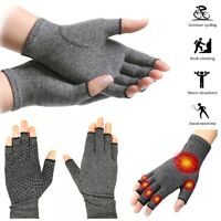 2Pcs Anti Arthritis Copper Fingerless gloves compression therapy circulation US