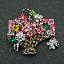 Exquisite Multi-Color Crystal Flower Basket Charm Brooch Pin