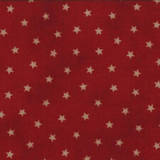 OLD GLORY GATHERINGS~BY 1/2 YD~MODA~1074-20~TAN STARS ON MEDIUM RED