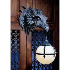 Sculpted Dragon Head Castle Trophy Holding Glass Orb Dramatic Decor Wall Sconce