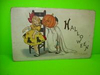 Halloween Postcard Original Stecher MP 2 Kids Antique 1916 Vintage Series 400 F