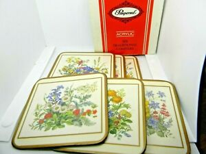 """Pimpernel Meadow Flowers Square Coasters Floral 4"""" Acrylic Vintage Set of 6"""