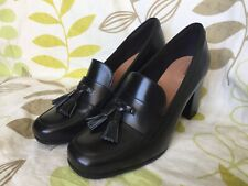 CLARKS LADIES BLACK LEATHER RETRO HIGH HEEL TASSLE SHOES 4.5 UK 37.5 EUR