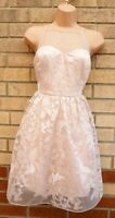 ARIANA LIPSY PALE PINK EMBROIDERED TULLE MESH STRAPPY SKATER A LINE PROM DRESS M