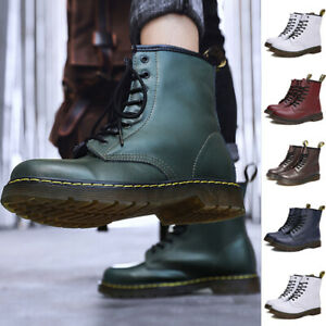 Unisex Classic Retro Casual Retro Boots Leather High Top Boots Shoes Black 2021