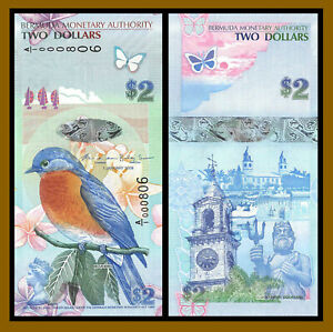 Bermuda 2 Dollars, 2009 P-57b First Prefix A/1 Low S/N Bluebird Clocktower Unc