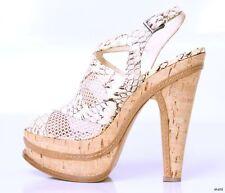 new $1725 ALAIA open-toe beige SNAKESKIN cork PLATFORMS heels shoes 38 8 - HOT