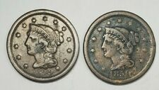 Lot of Two Large Cents - 1C - Braided Hair - 1849 / 1850 - Us Coins