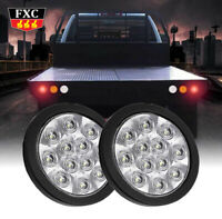 2x White 12 LED 4 Inch Round Surface Back-up Reverse Tail Light Truck Lorry Bus