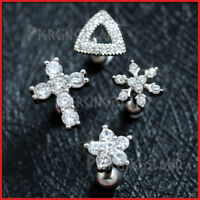 Gem Crystal Cross Snowflake Ear Cartilage Helix Stud Ring Bar Piercing Earring