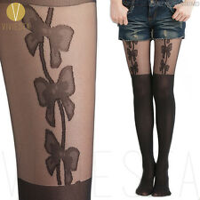 BOWS MOCK SUSPENDER TIGHTS - Fake Bowknots Over Knee Pantyhose Hosiery Stockings