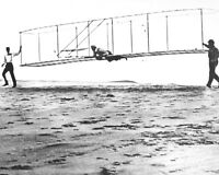 LAUNCH OF THE WRIGHT BROTHERS THIRD TEST GLIDER IN 1902 - 8X10 PHOTO (AB-678)