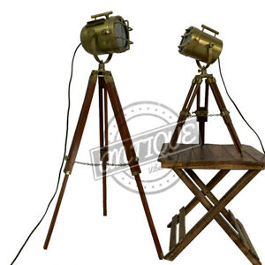 Bedroom Side Table Floor Lamp With Wooden Stand Tripod Focus Lighting Combo - 2