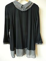 New Women Ex Evans Black + Dogtooth Contrast Print 2-in-1 Shirt Top Plus Size 14