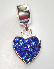 EUROPEAN 925 SILVER BLUE CRYSTAL BIRTHSTONE DANGLE HEART BEAD CHARM f/Bracelet