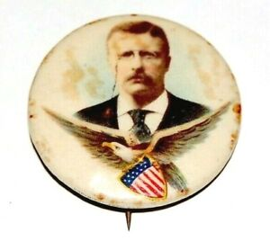 """1904 TEDDY ROOSEVELT 1.25"""" EAGLE theodore campaign pin pinback button political"""
