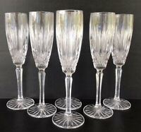 "Mikasa Old Dublin Crystal Champagne Fluted 8 7/8"" Set Of 6"