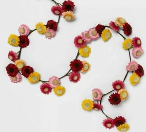 """Opalhouse Daisy Flower Garland Artificial Pink/Yellow/Red 72"""" x 2.7"""" Target NEW"""