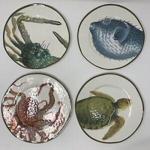 Pottery Barn Playa Sea Critter Melamine Salad Plates, Mixed Set of 4 ~ New