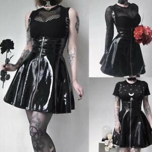 Sexy Women's Wet Look Mini PVC Dress Patent Leather Punk Clubwear Skater Costume