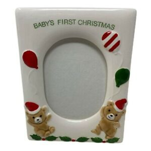 Baby's first Christmas teddy bears balloons ceramic small picture frame