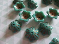 12 Czech Glass Bell Flower Beads 12X11mm Bead Caps Green Turquoise w Copper