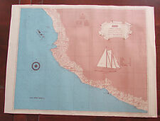 Vintage Polynesia Sailboat Wind Jammer Yacht Schooner Map Mexico 24x18
