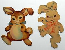 Easter Bunnies Vintage Diecut Cardstock Decorations Holiday Ornament Dennison