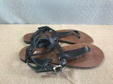 BNWT Ladies Older Girls Sz 6 Rivers  Brand Black strappy buckle  thongs Sandals