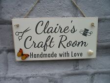 Personalised Craft Room Plaque Sewing Sign Shabby Chic Gift Handmade with name