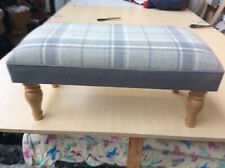 Footstool upholstered in Laura Ashley highland check steel