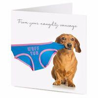 FROM YOUR NAUGHTY SAUSAGE Dachshund dog pulls underwear Birthday, Valentine card