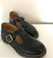 Auth DR MARTENS (Doc Martens)Polly T Bar Flats BlK With Yellow Stitching Size 8