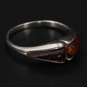 VTG Sterling Silver - Modernist Orange Baltic Amber Stackable Ring Size 7.5 - 2g